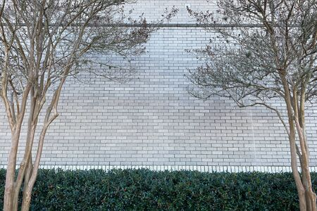 a white building blick wall in a park with hedges and trees Stock Photo