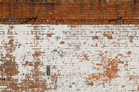 a vintage exterior natural red and whitewashed brick wall Stock Photo