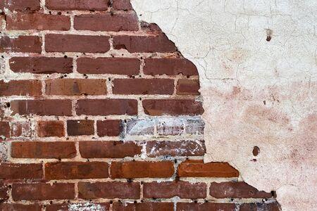 a cracked white stucco brick wall in a retro garden