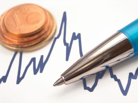 future earnings: graph with pen and euro coins