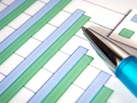 close-up of a pen on top of a financial bar chart