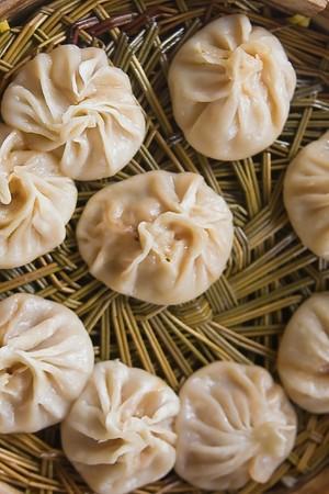 Top view of dumplings on bamboo steamer