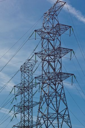 transformator: Electrical tower at power station (1)