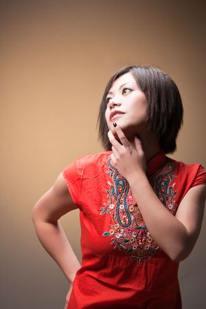 deep in thought: trendy woman in deep thought Stock Photo