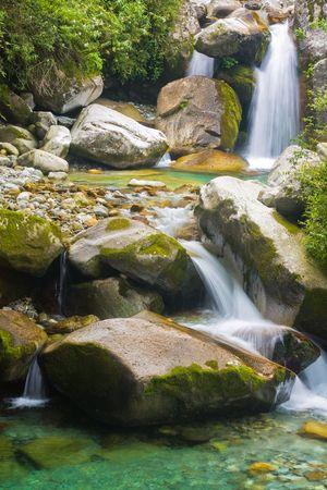 beautiful waterfall in cangshan mountain area, yunnan, china