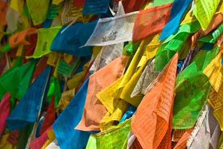 Lots of colorful tibetan prayer flags