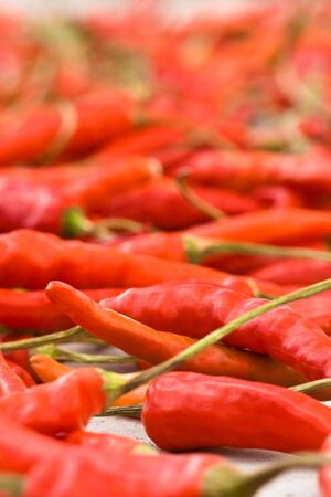 closeup of red peppers with shallow DOF photo