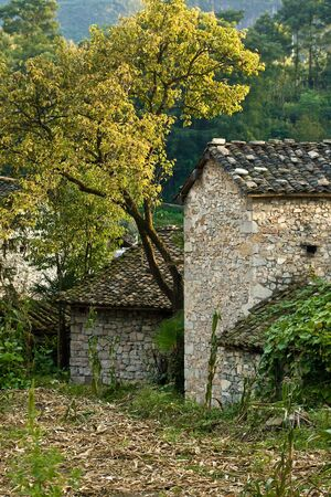 french countryside: rural scenery with french-style cottage
