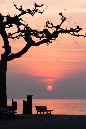 pictoresque: sunset at garda lake Stock Photo