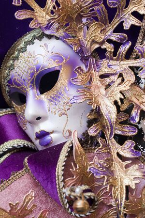 purple decorative venetian mask Stock Photo