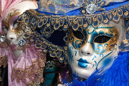 pink and blue venetian carnival masks photo