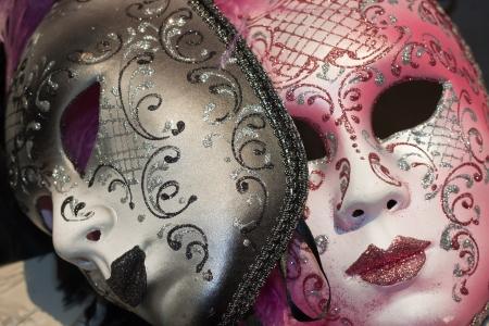 mascaras de carnaval: m�scaras de Carnaval veneciano marr�n y Rosa