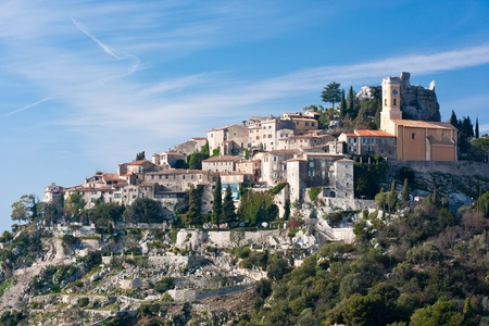hilltop: town of eze Stock Photo