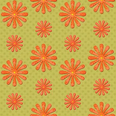 orange daisy seamless background on green photo