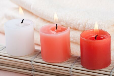 red and white candles photo