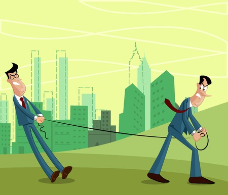 Businessman pulling other businessman in rivilary concept Vector