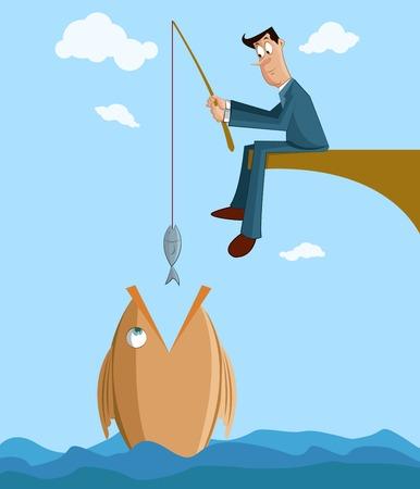 사업가 낚싯대에 작은 물고기와 큰 물고기 잡기