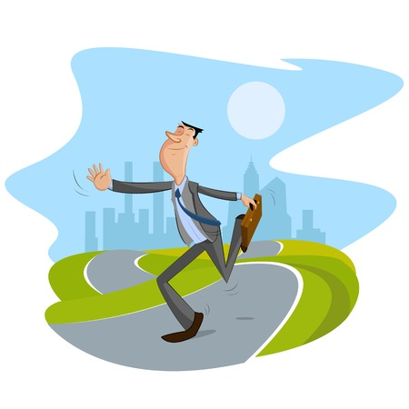 happy businessman walking on road with cityscape backdrop Vector