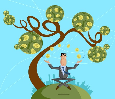 Businessman juggling with dollar coin, Profit concept