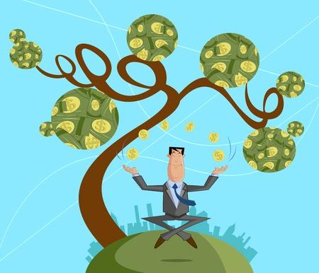 Zakenman jongleren met dollar munt, Winst-concept