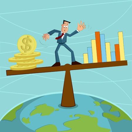balancing: businessman balancing coin and graph Illustration
