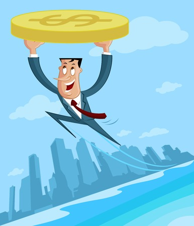 Businessman flying with dollar in profit Illustration