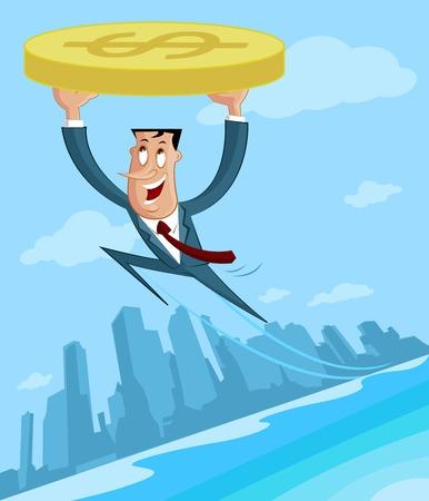 Zakenman vliegen met dollar in de winst
