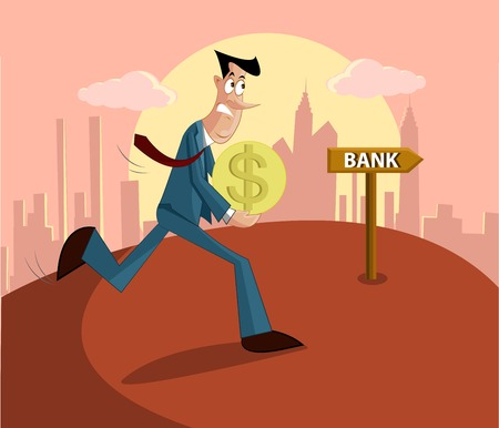 repayment: man walking with money towards bank, loan repayment concept