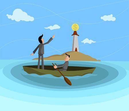 approaching: businessmen sailing towards dollar lighthouse, Profit Seeking concept