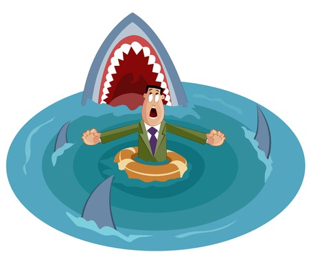 worried executive: businessman surrounded by sharks, Crisis Concept