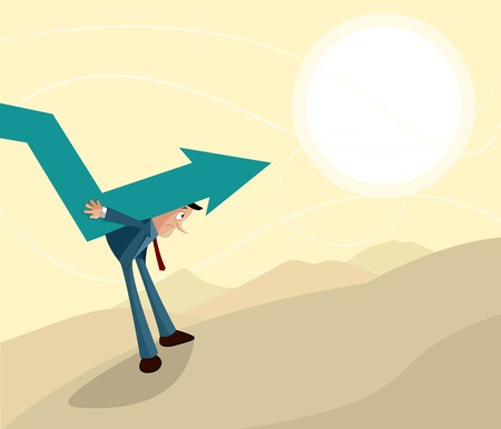recession: sad businessman carrying downward arrow, Crisis, recession and inflation concept