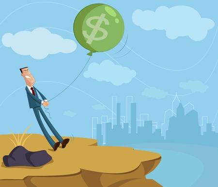 Zakenman trekken dollar ballon, inflatie besturingsconcept
