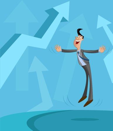 Happy businessman with upward arrow, Business Profit Concept