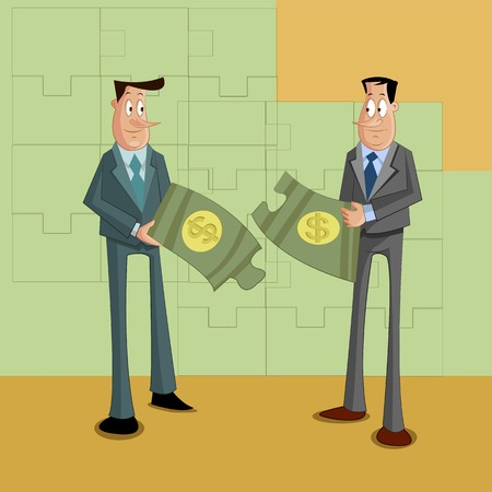 businessmen with dollar puzzle, Problem Solving Concept Illustration
