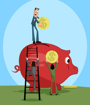 People putting coin in piggy bank Vector