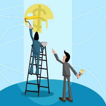 making: businessman painting dollar, Profit making Concept Illustration