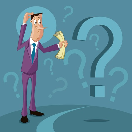 question mark: verwirrter Mann mit Fragezeichen, Verwirrung Konzept Illustration