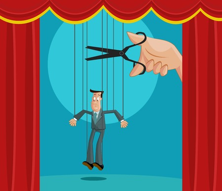 manipulate: Hand cutting the strings of a puppet businessman, Exploitation Concept