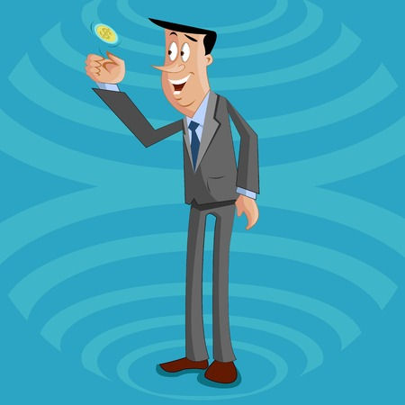 indecisive: businessman tossing coin, Risk and Gain of business Concept Illustration