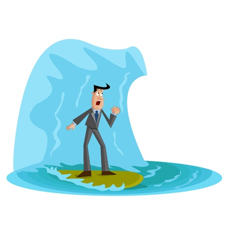 businessman under wave, Business Crisis Vector