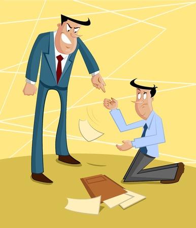 subordinate: Boss yelling on subordinate, Exploitation Concept