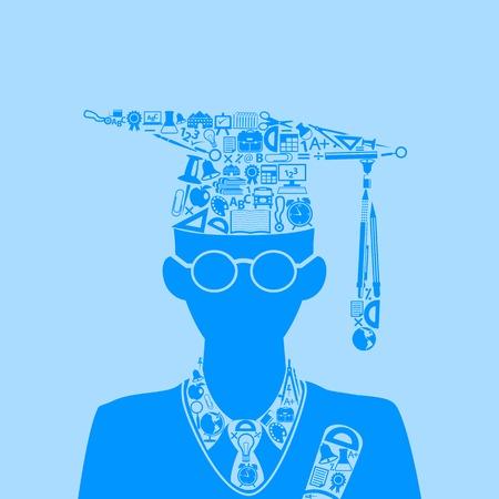 education icon forming shape of graduate student Ilustrace