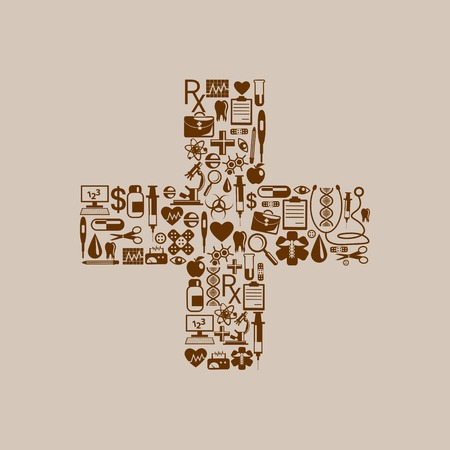healthcare and medical icon forming cross symbol Vector