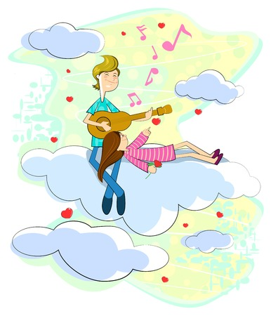 love cloud: Love couple sitting on cloudscape playing music with guitar