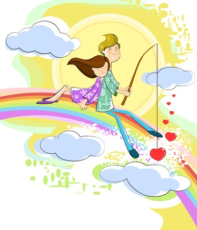 Love couple sitting on rainbow in cloudscape Vector