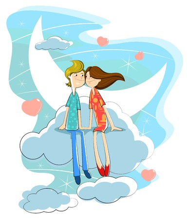 Love couple sitting on moon in cloudscape Vector