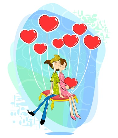 woman floating: Love couple with heart shaped balloon Illustration
