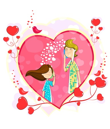 haciendo el amor: Amor pareja haciendo llamada telefónica en forma de corazón Vectores