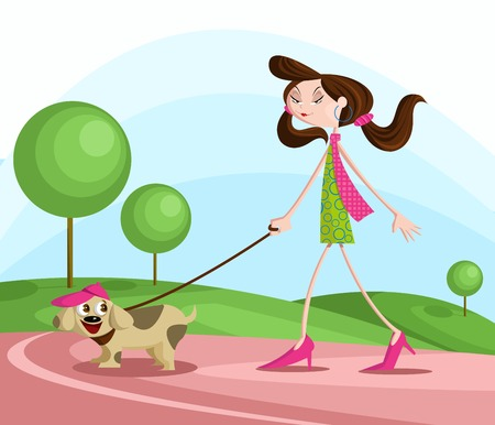 dog walking: Girl walking with dog in park