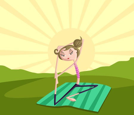 nature woman: Girl doing Yoga in park, fitness concept Illustration